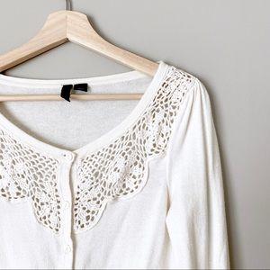 {H&M} Cotton White Crochet Button Cardigan